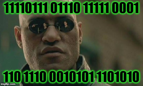 Matrix Morpheus Meme | 11110111 01110 11111 0001 110 1110 0010101 1101010 | image tagged in memes,matrix morpheus | made w/ Imgflip meme maker