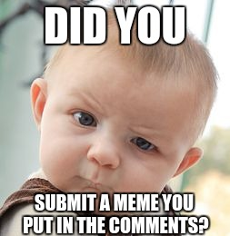 Skeptical Baby Meme | DID YOU SUBMIT A MEME YOU PUT IN THE COMMENTS? | image tagged in memes,skeptical baby | made w/ Imgflip meme maker