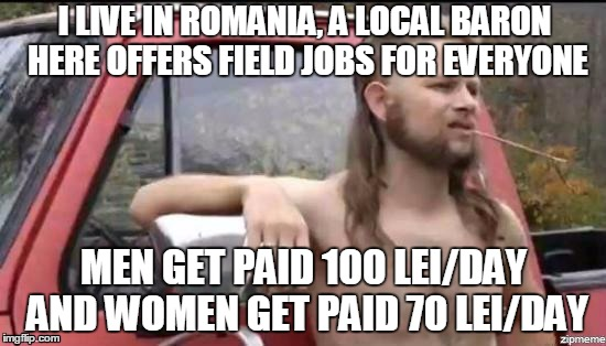 almost politically correct redneck | I LIVE IN ROMANIA, A LOCAL BARON HERE OFFERS FIELD JOBS FOR EVERYONE MEN GET PAID 100 LEI/DAY AND WOMEN GET PAID 70 LEI/DAY | image tagged in almost politically correct redneck | made w/ Imgflip meme maker