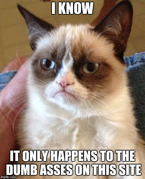 Grumpy Cat Meme | I KNOW IT ONLY HAPPENS TO THE DUMB ASSES ON THIS SITE | image tagged in memes,grumpy cat | made w/ Imgflip meme maker