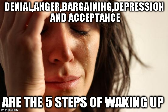 First World Problems Meme | DENIAL,ANGER,BARGAINING,DEPRESSION AND ACCEPTANCE ARE THE 5 STEPS OF WAKING UP | image tagged in memes,first world problems | made w/ Imgflip meme maker