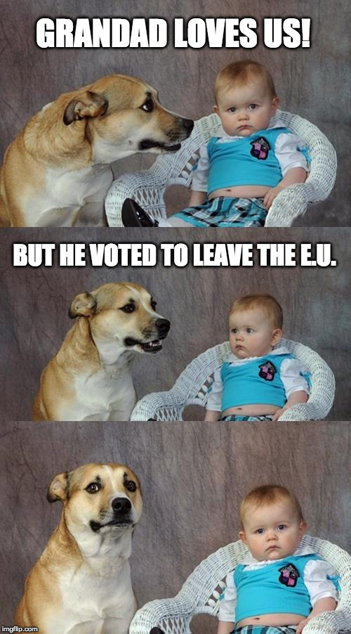 Grandad Loves Us | GRANDAD LOVES US! BUT HE VOTED TO LEAVE THE E.U. | image tagged in brexit,eu referendum | made w/ Imgflip meme maker