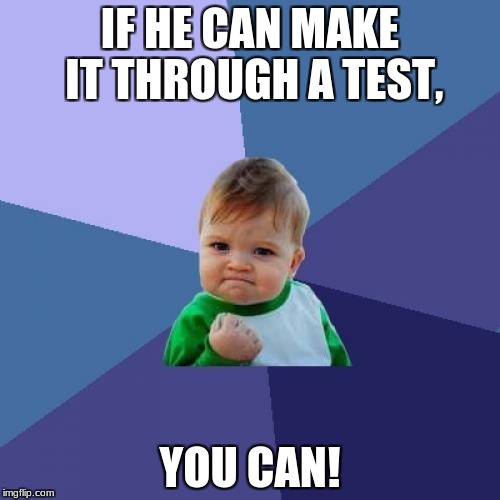 Success Kid Meme | IF HE CAN MAKE IT THROUGH A TEST, YOU CAN! | image tagged in memes,success kid | made w/ Imgflip meme maker
