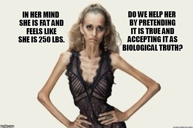 That's not healthy... | IN HER MIND SHE IS FAT AND FEELS LIKE SHE IS 250 LBS. DO WE HELP HER BY PRETENDING IT IS TRUE AND ACCEPTING IT AS BIOLOGICAL TRUTH? | image tagged in memes,anorexia,gender dysphoria,liberal logic | made w/ Imgflip meme maker