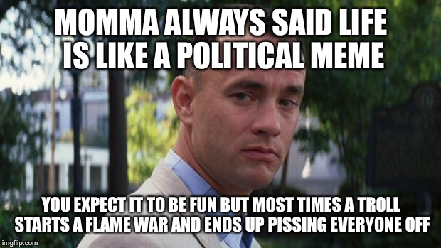 Forest Gump | MOMMA ALWAYS SAID LIFE IS LIKE A POLITICAL MEME YOU EXPECT IT TO BE FUN BUT MOST TIMES A TROLL STARTS A FLAME WAR AND ENDS UP PISSING EVERYO | image tagged in forest gump | made w/ Imgflip meme maker