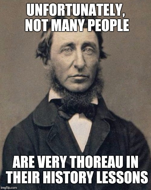 UNFORTUNATELY, NOT MANY PEOPLE ARE VERY THOREAU IN THEIR HISTORY LESSONS | made w/ Imgflip meme maker
