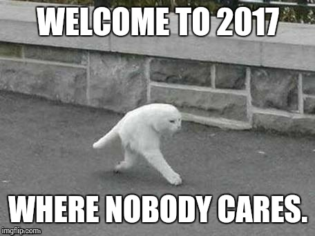This one was sent by my man Tigerlegend! Hope you like it! | WELCOME TO 2017 WHERE NOBODY CARES. | image tagged in tigerlegend1046,sir_unknown,template challenge | made w/ Imgflip meme maker
