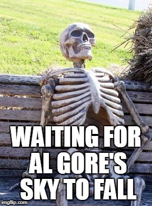 Waiting Skeleton Meme | WAITING FOR AL GORE'S SKY TO FALL | image tagged in memes,waiting skeleton | made w/ Imgflip meme maker