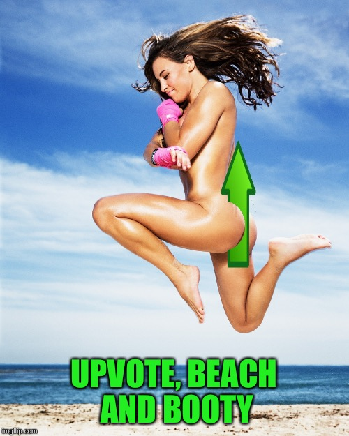 Upvote Miesha Tate | UPVOTE, BEACH AND BOOTY | image tagged in upvote miesha tate | made w/ Imgflip meme maker