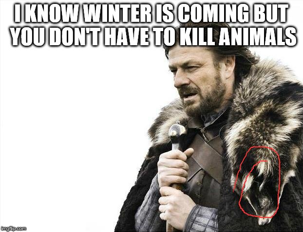 Brace Yourselves X is Coming Meme | I KNOW WINTER IS COMING BUT YOU DON'T HAVE TO KILL ANIMALS | image tagged in memes,brace yourselves x is coming | made w/ Imgflip meme maker