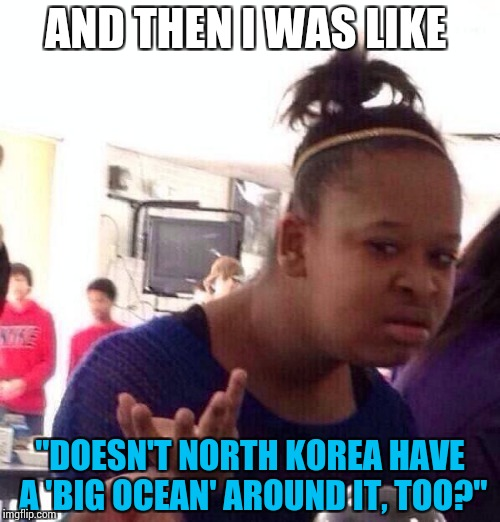 "Black Girl Wat Meme | AND THEN I WAS LIKE ""DOESN'T NORTH KOREA HAVE A 'BIG OCEAN' AROUND IT, TOO?"" 