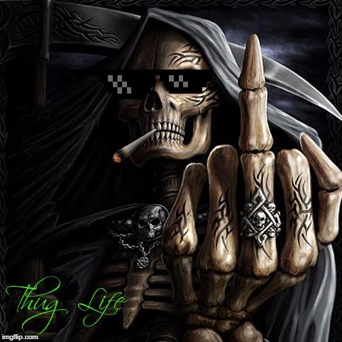 Savage Grim Reaper | image tagged in grim reaper,deal with it,thug life,memes | made w/ Imgflip meme maker