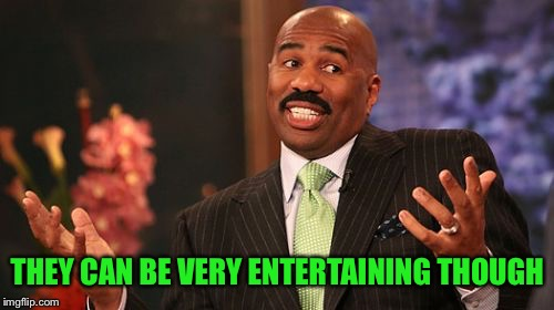 Steve Harvey Meme | THEY CAN BE VERY ENTERTAINING THOUGH | image tagged in memes,steve harvey | made w/ Imgflip meme maker