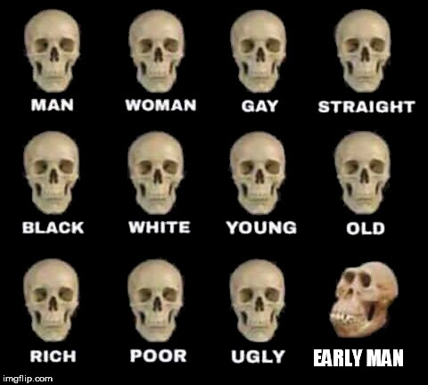 man woman gay straight skull | EARLY MAN | image tagged in man woman gay straight skull,early man,early humans,caveman,cavemen,early human | made w/ Imgflip meme maker