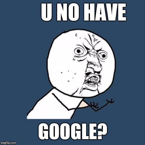Y U No Meme | U NO HAVE GOOGLE? | image tagged in memes,y u no | made w/ Imgflip meme maker