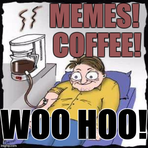 I DON'T ACTUALLY DRINK MUCH COFFEE. :D | MEMES! COFFEE! WOO HOO! | image tagged in funny,memes,coffee,imgflip,humor,hamsters made of fire save the universe | made w/ Imgflip meme maker