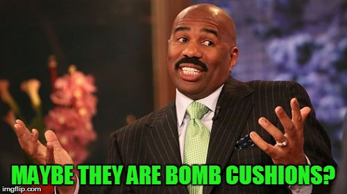Steve Harvey Meme | MAYBE THEY ARE BOMB CUSHIONS? | image tagged in memes,steve harvey | made w/ Imgflip meme maker