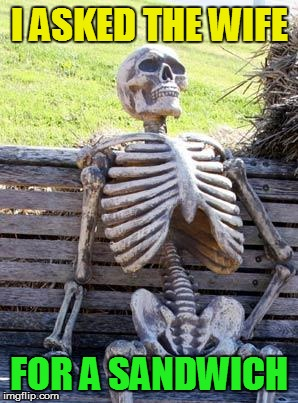 Waiting Skeleton Meme | I ASKED THE WIFE FOR A SANDWICH | image tagged in memes,waiting skeleton | made w/ Imgflip meme maker