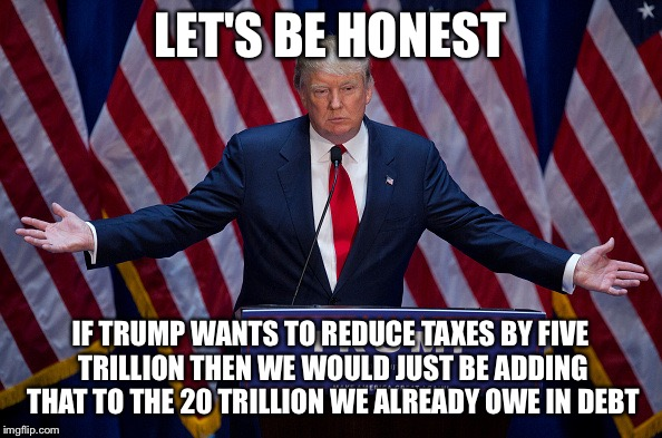 Donald Trump | LET'S BE HONEST IF TRUMP WANTS TO REDUCE TAXES BY FIVE TRILLION THEN WE WOULD JUST BE ADDING THAT TO THE 20 TRILLION WE ALREADY OWE IN DEBT | image tagged in donald trump | made w/ Imgflip meme maker
