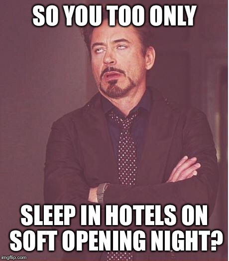 Face You Make Robert Downey Jr Meme | SO YOU TOO ONLY SLEEP IN HOTELS ON SOFT OPENING NIGHT? | image tagged in memes,face you make robert downey jr | made w/ Imgflip meme maker