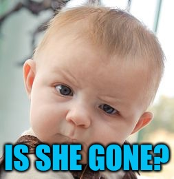 Skeptical Baby Meme | IS SHE GONE? | image tagged in memes,skeptical baby | made w/ Imgflip meme maker