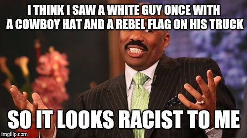 Steve Harvey Meme | I THINK I SAW A WHITE GUY ONCE WITH A COWBOY HAT AND A REBEL FLAG ON HIS TRUCK SO IT LOOKS RACIST TO ME | image tagged in memes,steve harvey | made w/ Imgflip meme maker