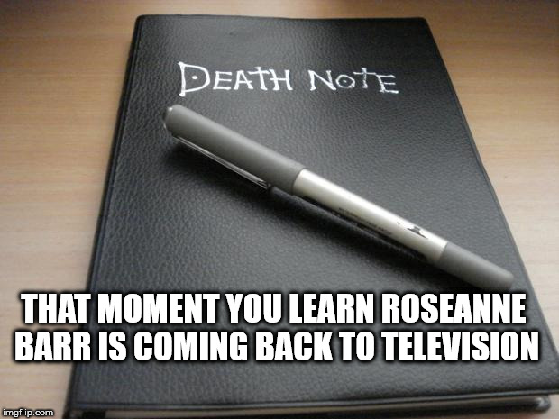 Death note | THAT MOMENT YOU LEARN ROSEANNE BARR IS COMING BACK TO TELEVISION | image tagged in death note | made w/ Imgflip meme maker