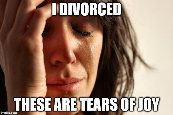 First World Problems Meme | I DIVORCED THESE ARE TEARS OF JOY | image tagged in memes,first world problems | made w/ Imgflip meme maker