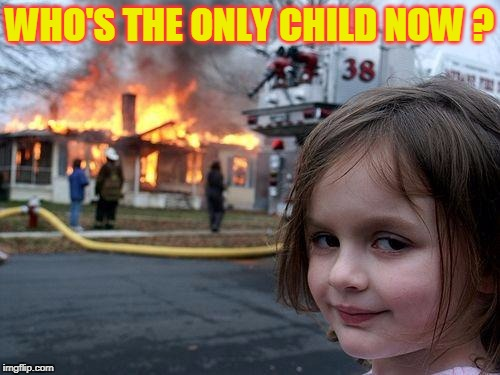 Disaster Girl Meme | WHO'S THE ONLY CHILD NOW ? | image tagged in memes,disaster girl | made w/ Imgflip meme maker