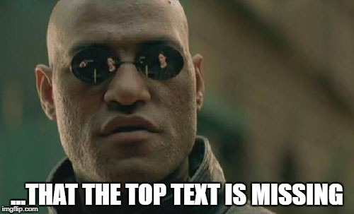 Matrix Morpheus Meme | ...THAT THE TOP TEXT IS MISSING | image tagged in memes,matrix morpheus | made w/ Imgflip meme maker