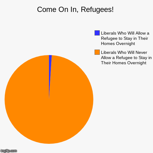 Come One, Come All! | Come On In, Refugees! | Liberals Who Will Never Allow a Refugee to Stay in Their Homes Overnight, Liberals Who Will Allow a Refugee to Stay  | image tagged in funny,pie charts,refugees,liberal hypocrisy,immigration,naive liberals | made w/ Imgflip pie chart maker