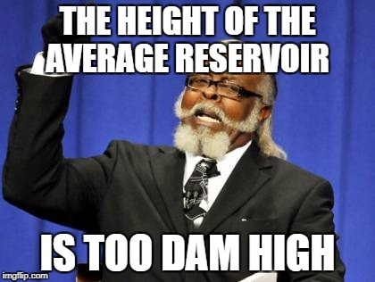 Too Damn High Meme | THE HEIGHT OF THE AVERAGE RESERVOIR IS TOO DAM HIGH | image tagged in memes,too damn high | made w/ Imgflip meme maker