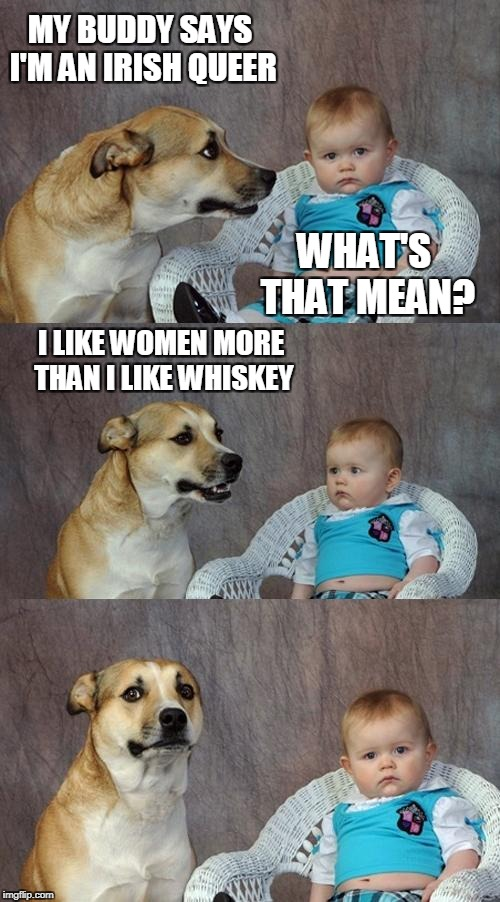 Irish Queer | MY BUDDY SAYS I'M AN IRISH QUEER WHAT'S THAT MEAN? I LIKE WOMEN MORE THAN I LIKE WHISKEY | image tagged in memes,dad joke dog,irish,homosexuality | made w/ Imgflip meme maker