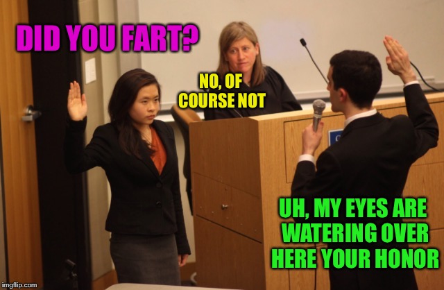 DID YOU FART? NO, OF COURSE NOT UH, MY EYES ARE WATERING OVER HERE YOUR HONOR | made w/ Imgflip meme maker