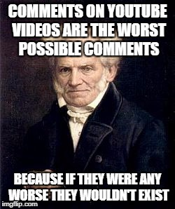 Arthur Schopenhauer | COMMENTS ON YOUTUBE VIDEOS ARE THE WORST POSSIBLE COMMENTS BECAUSE IF THEY WERE ANY WORSE THEY WOULDN'T EXIST | image tagged in arthur schopenhauer,youtube | made w/ Imgflip meme maker