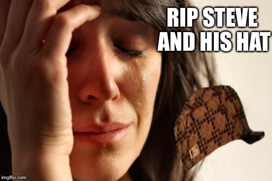 First World Problems Meme | RIP STEVE AND HIS HAT | image tagged in memes,first world problems,scumbag | made w/ Imgflip meme maker