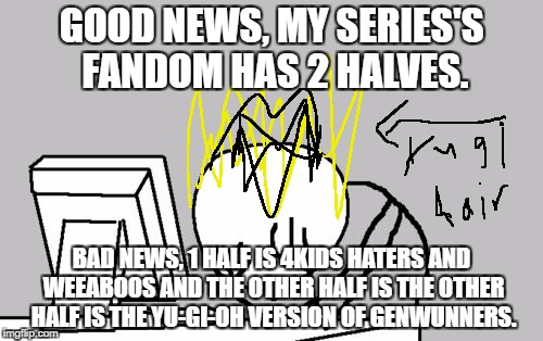 Bad Fandoms Week, A Benjamin Tanner Event. 10/22-10/28. | GOOD NEWS, MY SERIES'S FANDOM HAS 2 HALVES. BAD NEWS, 1 HALF IS 4KIDS HATERS AND WEEABOOS AND THE OTHER HALF IS THE OTHER HALF IS THE YU-GI- | image tagged in memes,computer guy facepalm | made w/ Imgflip meme maker