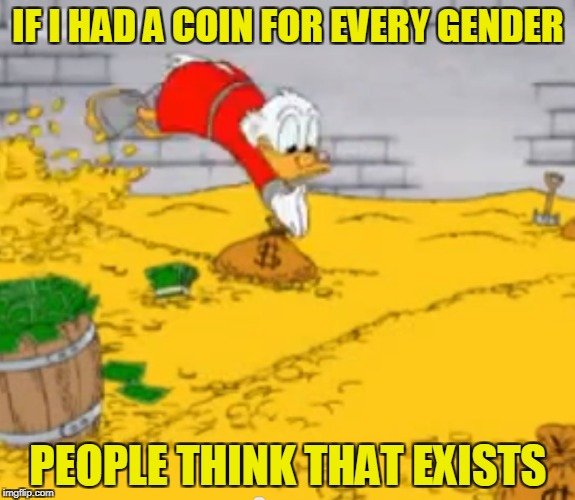 Seriously?What f*cking genders could there be other than male or female?I'll sit here as I wait for your answer | IF I HAD A COIN FOR EVERY GENDER PEOPLE THINK THAT EXISTS | image tagged in memes,gold,money,gender,if i had one,logic | made w/ Imgflip meme maker