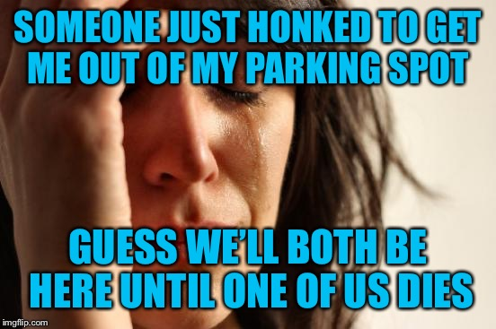 He has no idea of who he's dealing with! | SOMEONE JUST HONKED TO GET ME OUT OF MY PARKING SPOT GUESS WE'LL BOTH BE HERE UNTIL ONE OF US DIES | image tagged in memes,first world problems,jerk,its not going to happen,get a life | made w/ Imgflip meme maker