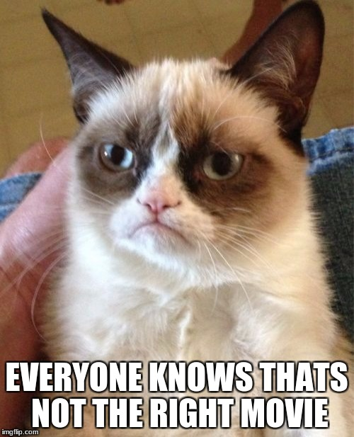 Grumpy Cat Meme | EVERYONE KNOWS THATS NOT THE RIGHT MOVIE | image tagged in memes,grumpy cat | made w/ Imgflip meme maker
