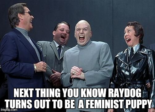 evil laughing group | NEXT THING YOU KNOW RAYDOG TURNS OUT TO BE  A FEMINIST PUPPY | image tagged in evil laughing group | made w/ Imgflip meme maker