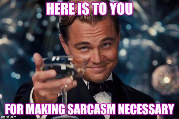 People like you | HERE IS TO YOU FOR MAKING SARCASM NECESSARY | image tagged in memes,leonardo dicaprio cheers | made w/ Imgflip meme maker