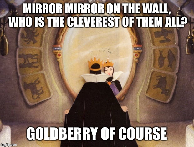 MIRROR MIRROR ON THE WALL, WHO IS THE CLEVEREST OF THEM ALL? GOLDBERRY OF COURSE | made w/ Imgflip meme maker