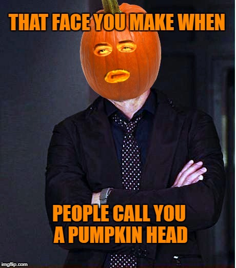 THAT FACE YOU MAKE WHEN PEOPLE CALL YOU A PUMPKIN HEAD | image tagged in that face you make when,pumpkin,robert downey jr,that face you make,that face,halloween | made w/ Imgflip meme maker