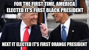 FOR THE FIRST TIME, AMERICA ELECTED IT'S FIRST BLACK PRESIDENT NEXT IT ELECTED IT'S FIRST ORANGE PRESIDENT | image tagged in trump | made w/ Imgflip meme maker