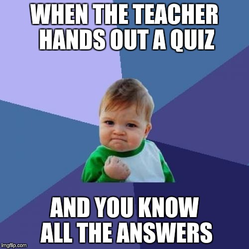 Success Kid Meme | WHEN THE TEACHER HANDS OUT A QUIZ AND YOU KNOW ALL THE ANSWERS | image tagged in memes,success kid | made w/ Imgflip meme maker
