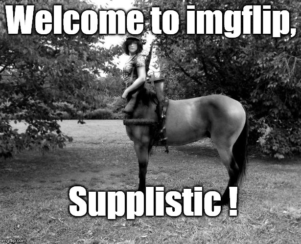 Centaur Soldier | Welcome to imgflip, Supplistic ! | image tagged in centaur soldier | made w/ Imgflip meme maker