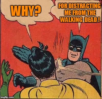 Don't Distract Me! | WHY? FOR DISTRACTING ME FROM THE WALKING  DEAD ! | image tagged in memes,batman slapping robin,the walking dead | made w/ Imgflip meme maker