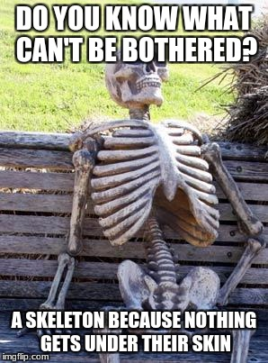 Waiting Skeleton Meme | DO YOU KNOW WHAT CAN'T BE BOTHERED? A SKELETON BECAUSE NOTHING GETS UNDER THEIR SKIN | image tagged in memes,waiting skeleton | made w/ Imgflip meme maker