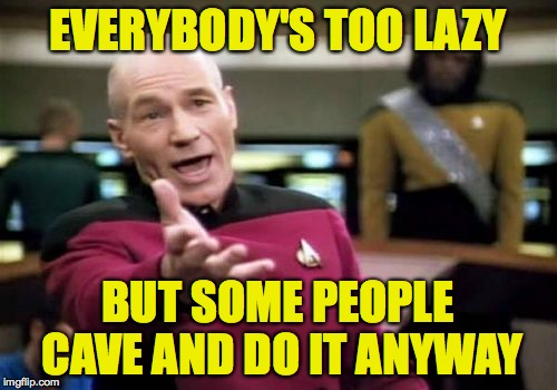 Picard Wtf Meme | EVERYBODY'S TOO LAZY BUT SOME PEOPLE CAVE AND DO IT ANYWAY | image tagged in memes,picard wtf | made w/ Imgflip meme maker